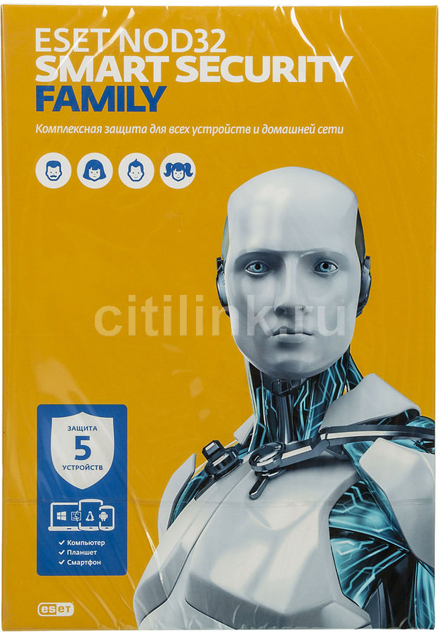 ПО Eset NOD32 Smart Security Family 5 ПК 1 год Box (NOD32-ESM-NS(BOX)-1-5) программный продукт eset nod32 smart security family регистрационный ключ на 5 пк на 1 год box nod32 esm ns box 1 5