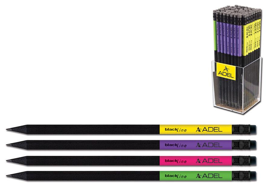 Карандаш чернографит. Adel BlackLine NOBLE 206-1130-734 HB ластик корпус ассорти 4 дизайна