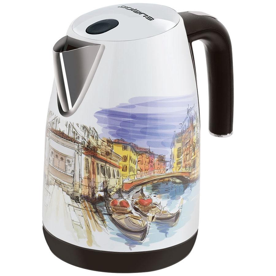 Чайник электрический POLARIS PWK 1819CA Venice, 2200Вт, белый и рисунок