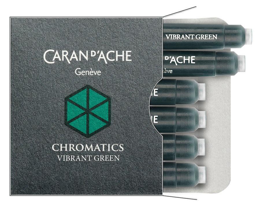 Картридж Carandache Chromatics (8021.210) Vibrant green чернила для ручек перьевых (6шт)