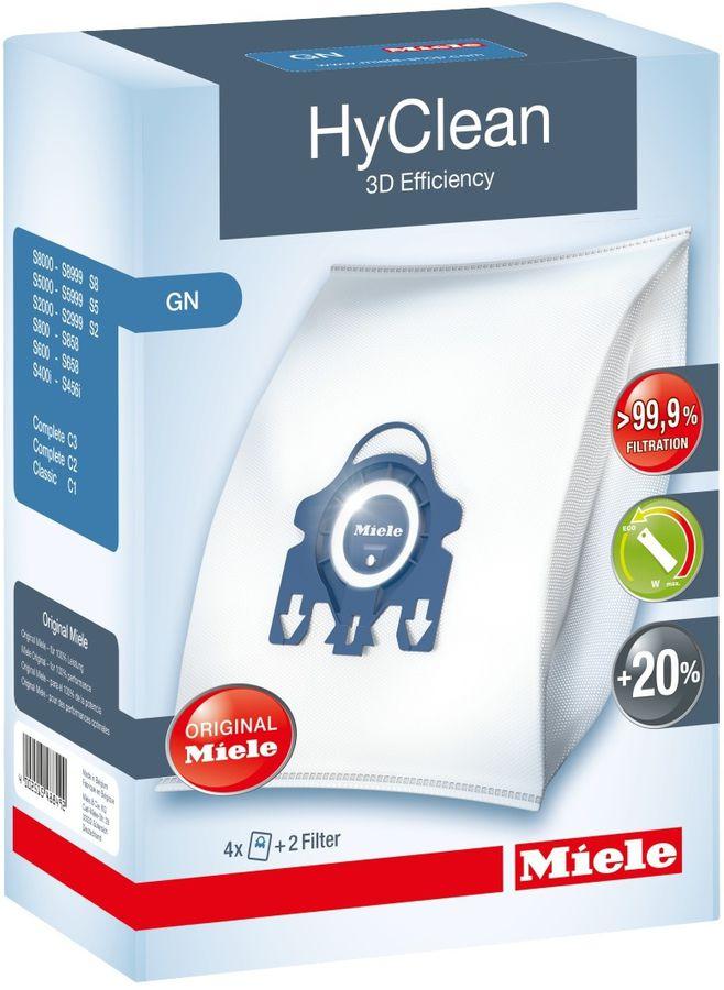 Пылесборники MIELE GN HyClean,  4 шт., для пылесосов Miele S800-S858, Classic C1 (S2), S5, Complete C3 (S8).,  мешки-пылесборники GN HyClean 3D Efficiency - 4 штуки; 1 фильтр моторного отсека и 1 фильтр выходящего воздуха Air Cle