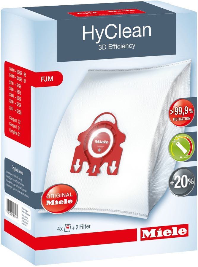 Пылесборники MIELE FJM HyClean,  4 шт., для пылесосов Miele S700, S4000, Compact C2 (S6).,  мешки-пылесборники 4шт., 1 фильтр моторного отсека и 1 фильтр выходящего воздуха Air Clean.