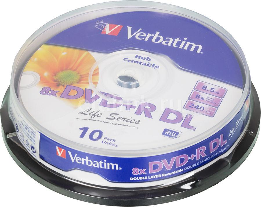 Оптический диск DVD+R VERBATIM 8.5Гб 8x, 10шт., 43818, cake box
