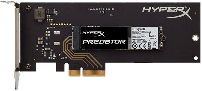 SSD накопитель KINGSTON HyperX SHPM2280P2H/240G 240Гб, PCI-E AIC (add-in-card), PCI-E x4