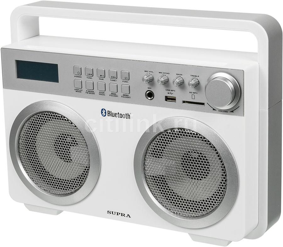 Аудиомагнитола SUPRA BTS-900,  белый и серебристый