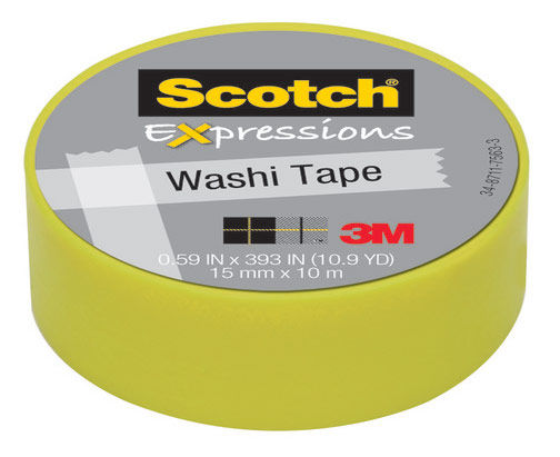 Клейкая лента декоративная 3M Scotch Washi 7100024029 лимон шир.15мм дл.10мКлейкая лента<br>ширина: 15мм; длина: 10м<br>