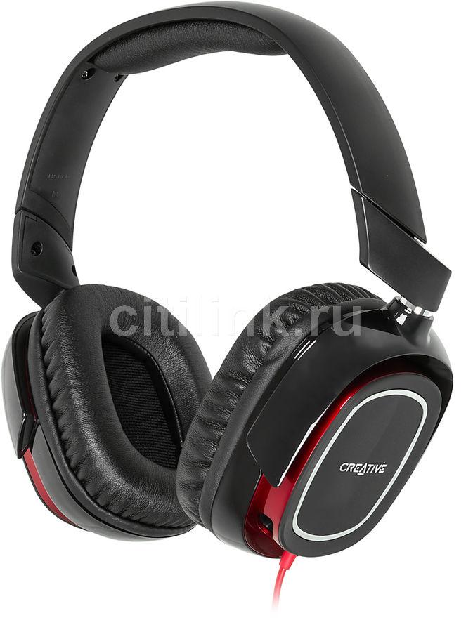 Наушники с микрофоном CREATIVE HS 880 Draco,  51EF0700AA001,  мониторы, черный  / красный