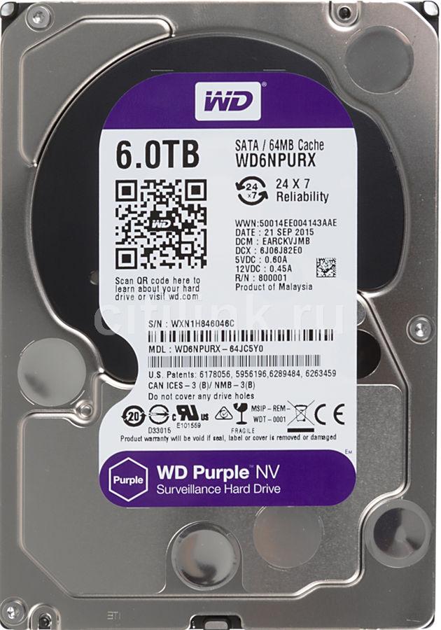 Жесткий диск WD Purple NV WD6NPURX,  6Тб,  HDD,  SATA III,  3.5