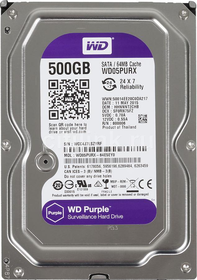 Жесткий диск WD Purple WD05PURX,  500Гб,  HDD,  SATA III,  3.5