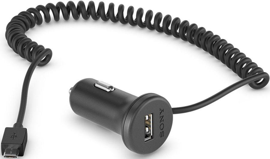 Автомобильное зарядное устройство SONY AN-420,  microUSB,  1.8A,  черный