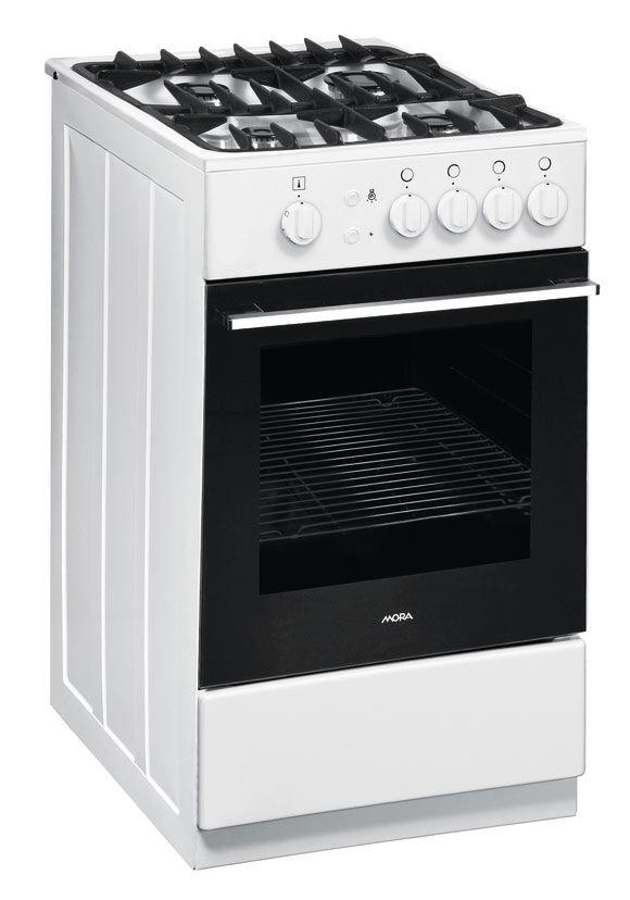 Газовая плита MORA PS213MW2,  газовая духовка,  белый