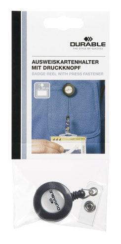 Рулетка для бейджа Durable 8226-58 80см серый европодвес