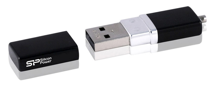 Флешка USB SILICON POWER LuxMini 710 64Гб, USB2.0, черный [sp064gbuf2710v1k]