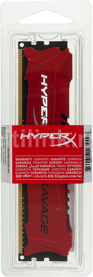 Модуль памяти KINGSTON HYPERX Savage HX318C9SR/4 DDR3 - 4Гб 1866, DIMM, Ret модуль памяти kingston hyperx savage hx316c9sr 8 ddr3 8гб 1600 dimm ret