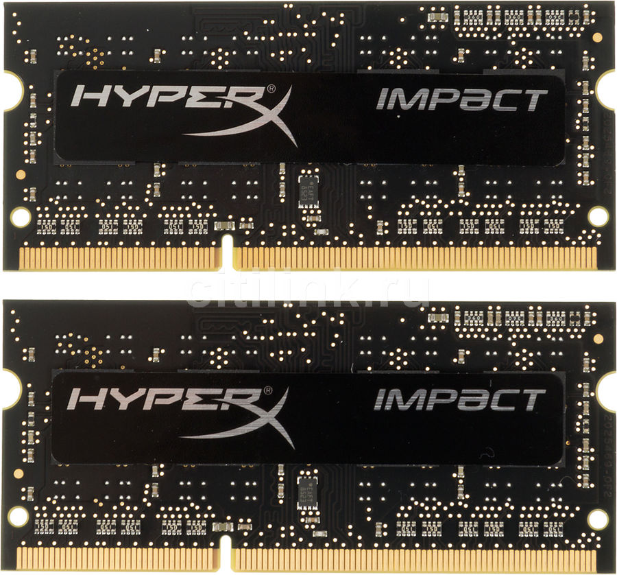 купить Модуль памяти KINGSTON HyperX Impact HX316LS9IBK2/16 DDR3L - 2x 8Гб 1600, SO-DIMM, Ret онлайн