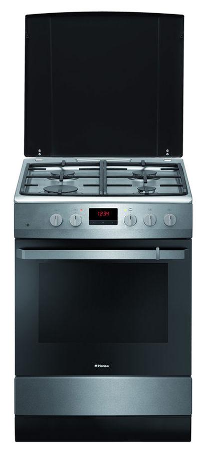 Газовая плита HANSA FCGX62214,  газовая духовка,  нержавеющая сталь