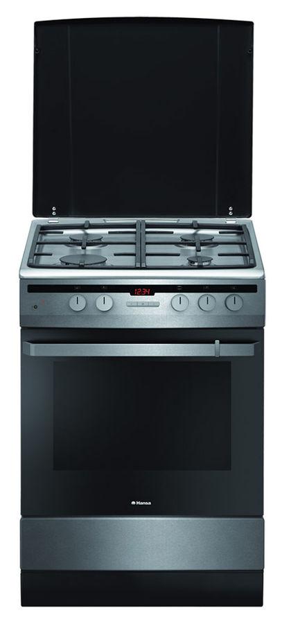 Газовая плита HANSA FCGX62210,  газовая духовка,  нержавеющая сталь