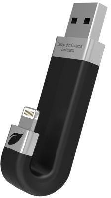 Флешка USB LEEF iBridge 128Гб, USB2.0, черный и серебристый [lib000kk128r6]
