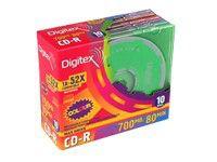 Оптический диск CD-R DIGITEX 700Мб 52x, 10шт., R80C52-SC10, slim case, разноцветные