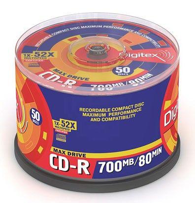 Оптический диск CD-R DIGITEX 700Мб 52x, 50шт., R80S52-C50, cake box