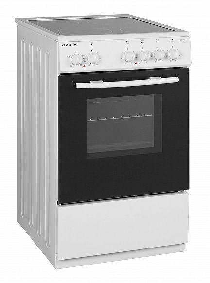 Электрическая плита VESTEL VC V56W,  стеклокерамика,  белый [18001038]