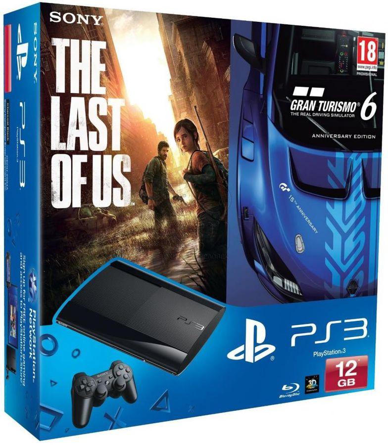Игровая консоль SONY PlayStation 3 с играми Gran Turismo 6 и The Last of Us,  PS719888031, черный