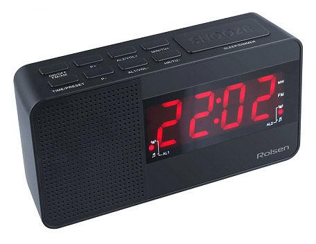 Радиобудильник ROLSEN CR-210, красная подсветка,  черный