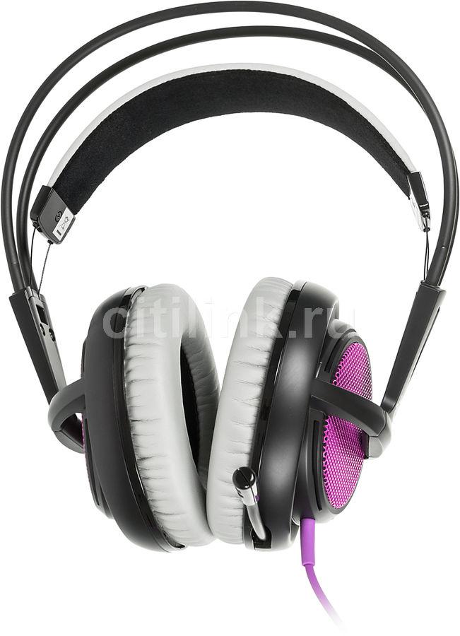 Наушники с микрофоном STEELSERIES Siberia 200 Sakura Purple,  мониторы, пурпурный  / черный [51136]