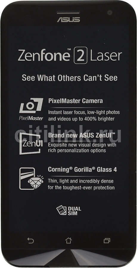 Смартфон Asus ZE500KL Zenfone 2 Lazer 16Gb серебристый моноблок 3G 4G 2Sim 5