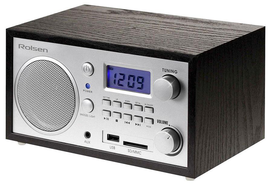 Радиобудильник ROLSEN RFM-300, синяя подсветка,  венге