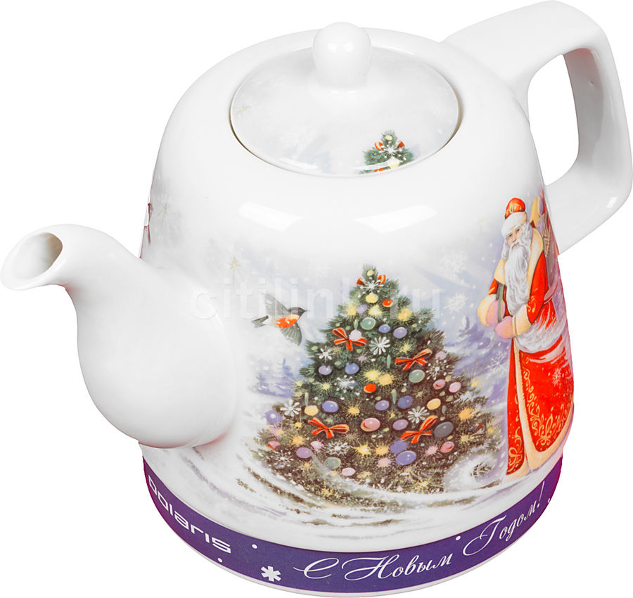 Чайник электрический POLARIS PWK1299CCR, 1500Вт, белый и дед Мороз