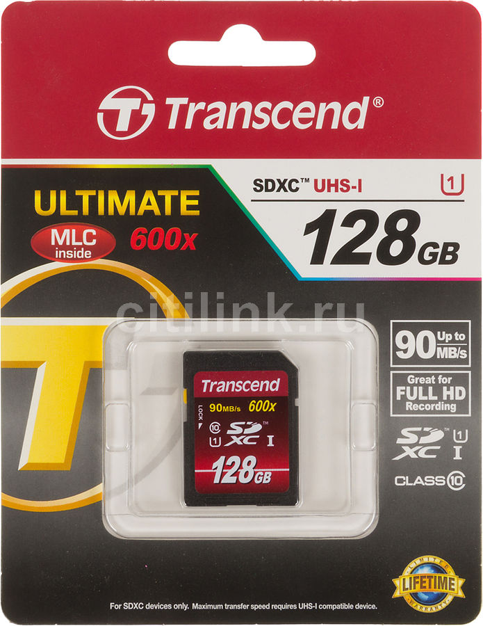 Карта памяти SDXC UHS-I TRANSCEND 128 ГБ, Class 10, TS128GSDXC10U1,  1 шт.