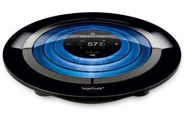 Весы MEDISANA Target Scale 2, до 180кг, цвет: черный/голубой [40419]