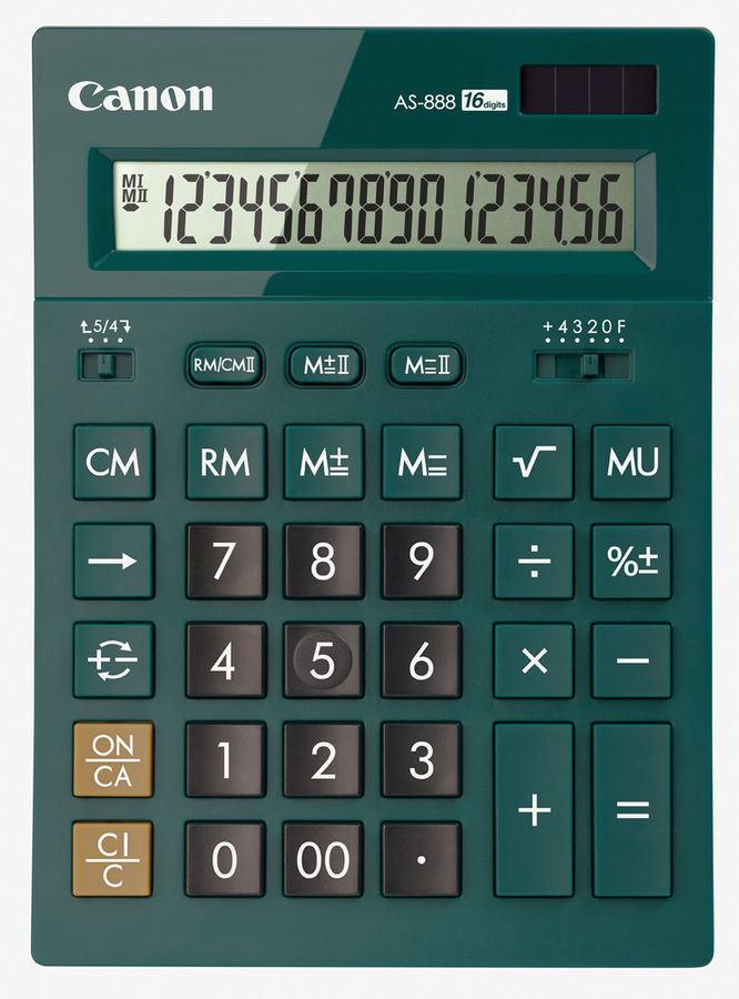 Калькулятор CANON AS-888-DGR,  16-разрядный, изумрудный