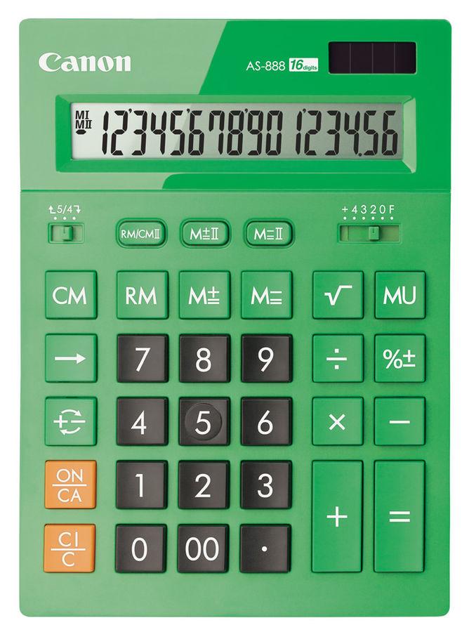 Калькулятор CANON AS-888-GR,  16-разрядный, зеленый