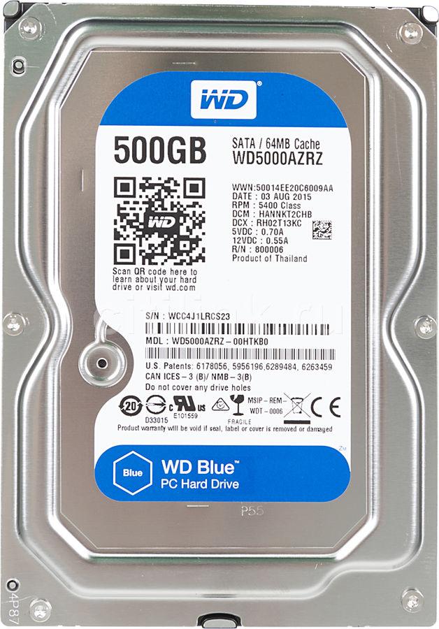 Жесткий диск WD Blue WD5000AZRZ,  500Гб,  HDD,  SATA III,  3.5