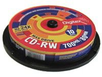 Оптический диск CD-RW DIGITEX 700Мб 24x, 10шт., RW80SX24-C10, cake box