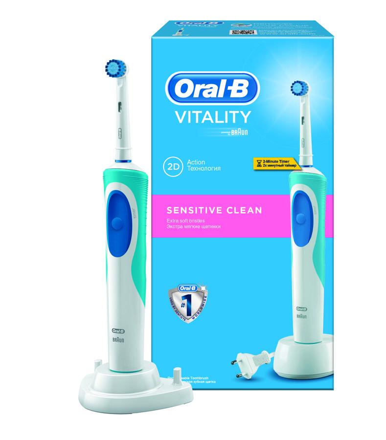 Электрическая зубная щетка ORAL-B Vitality Sensitive Clean синий