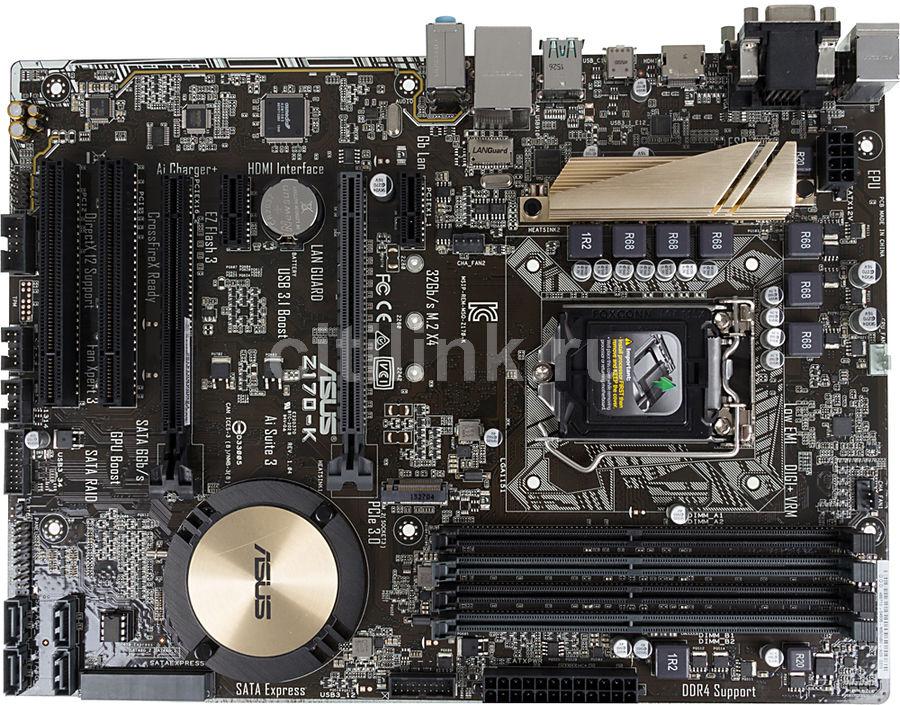 Материнская плата ASUS Z170-K, LGA 1151, Intel Z170, ATX, Ret