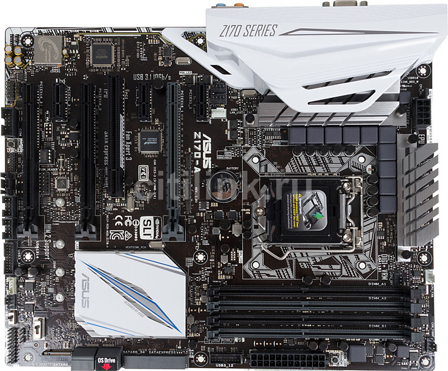 Материнская плата ASUS Z170-A, LGA 1151, Intel Z170, ATX, Ret
