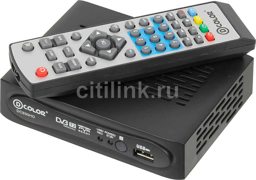 Ресивер DVB-T2 D-COLOR DC930HD, черный телеприставка qhisp iptv dvb t2 mpeg4 hd 40 car dvb t2