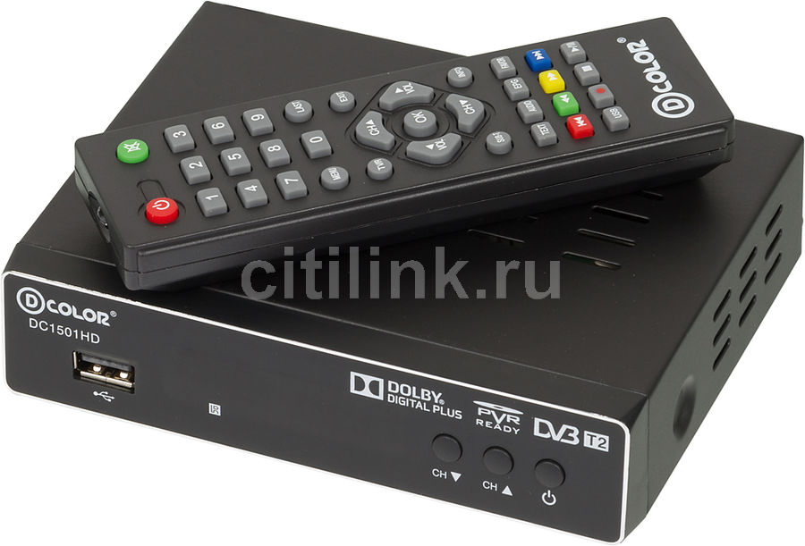Ресивер DVB-T2 D-COLOR DC1501HD,  черный