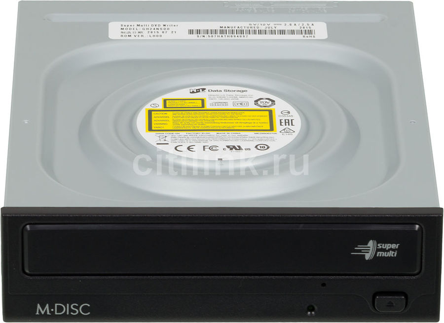 Оптический привод DVD-RW LG GH24NSD0(1), внутренний, SATA, черный,  OEM