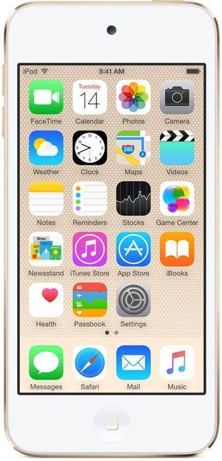 MP3 плеер APPLE iPod touch 6 flash 16Гб золотистый/белый [mkh02ru/a]