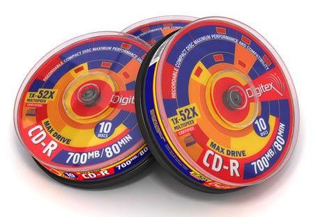 Оптический диск CD-R DIGITEX 700Мб 52x, 10шт., PR80S52-C10, cake box