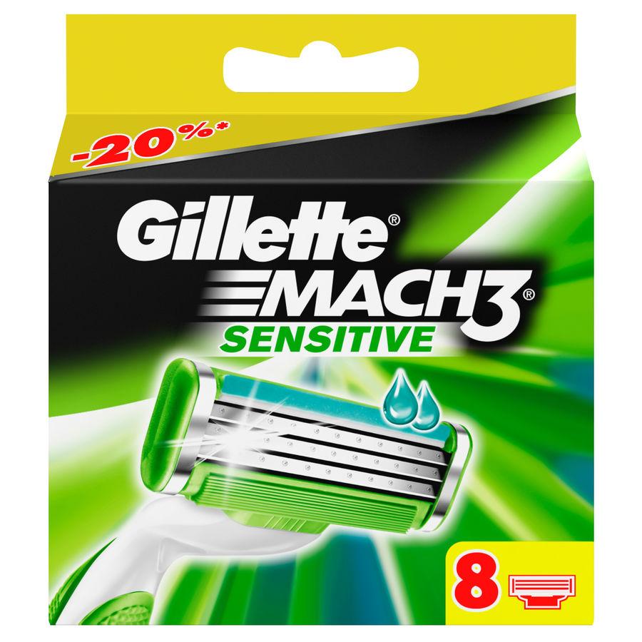 Сменные кассеты для бритья GILLETTE Mach3 Sensitive, 8 шт. [80227857]