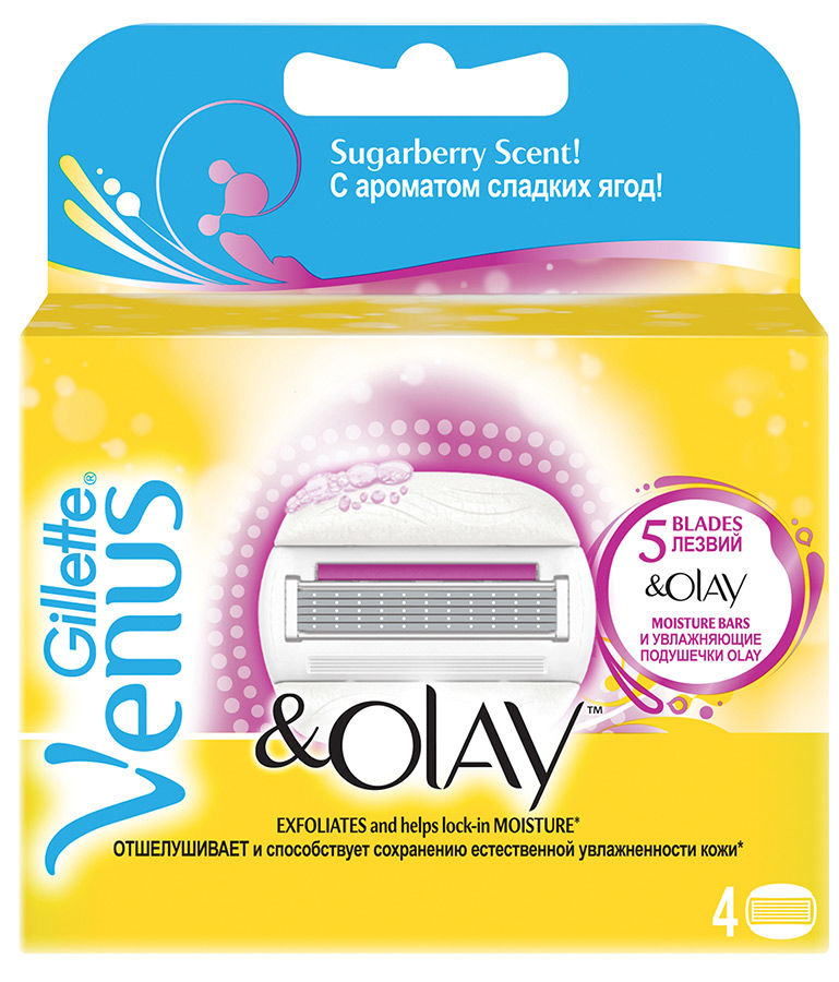 Сменные кассеты для бритья GILLETTE Venus&Olay Shugarberry,  с ароматом сладких ягод, 4шт [80232062]