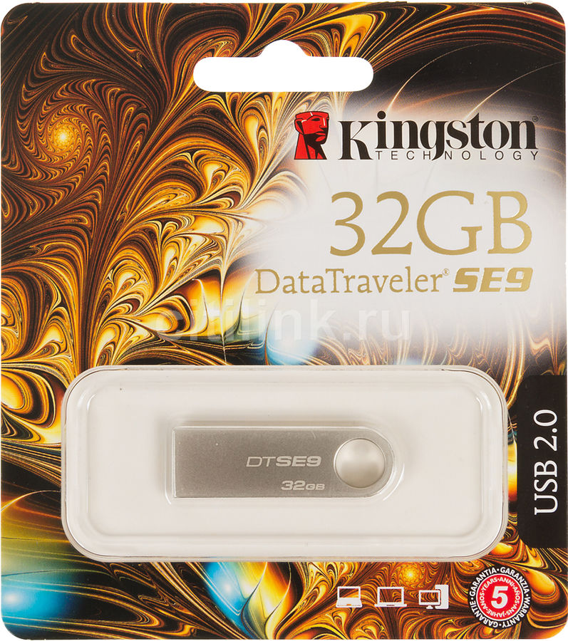 Флешка USB KINGSTON DataTraveler SE9 32Гб, USB2.0, серебристый [kc-u4632-5s]