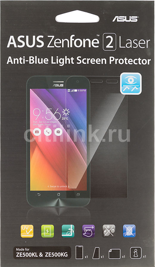 Защитная пленка ASUS SCREEN PROTECTOR/ZE500KL&KG /ABL//5  для Asus Zenfone 2 Laser_ZE500KL/KG,  прозрачная, 1 шт [90xb00ka-bsc080]