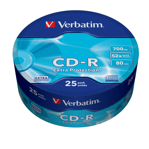 Оптический диск CD-R VERBATIM 700Мб 52x, 25шт., 43726, cake box verbatim music cd r в киеве